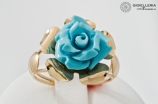 Lady's ring in 18 kt gold with paste turquoise Flower AN15